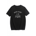 New Fashion Simple Letter Print Crew Neck Short Sleeve Tee