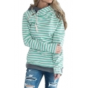 New Fashion Striped Pattern Zippered Side Long Sleeve Hoodie