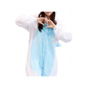 Cute Cartoon Unicorn Long Sleeve Single Breasted Color Block Pajamas Jumpsuits