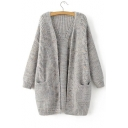 New Fashion Simple Plain Open Front Long Sleeve Longline Cardigan