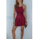 New Stylish Gathered Waist Simple Plain Sport Mini Cami Dress