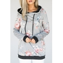 Fashion Floral Print Drawstring Hood Long Sleeve Leisure Hoodie