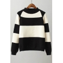 Simple Color Block Panel Round Neck Long Sleeve Pullover Sweater
