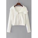 New Stylish Long Sleeve Zip Up Simple Plain Cropped Hooded Coat