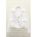 Simple Plain Notch Lapel Buttons Down Long Sleeve Cotton Coat