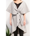 Chic Simple Plain Oversize Lapel Tie Front Sleeveless Cloak Coat