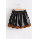 New Fashion Elastic Color Block Leather Shorts