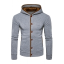New Stylish Single Breasted Long Sleeve Hooded Coat
