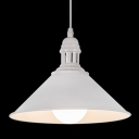 Industrial Pendant Light with 10''W Cone Shade, Black/White