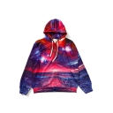 New Fashion Sun Rise Print Zip Placket Long Sleeve Hooded Coat