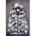 New Trendy Camouflage Pattern Hooded Long Sleeve Zip Up Unisex Coat