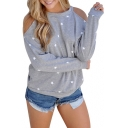 Star Printed Cutout-Back Cold Shoulder Long Sleeve Round Neck Pullover Sweatshirt