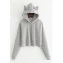 New Stylish Long Sleeve Simple Plain Cropped Hoodie with Cat's Ear Hood