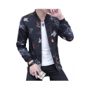 Floral Fish Print Stand-Up Collar Zip Placket Long Sleeve Jacket