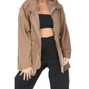 Simple Lapel Long Sleeves Drop Shoulders Zippered Furry Coat with Pockets