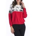 Color Block Bear Pattern Long SLeeve Pullover Sweater