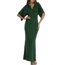 Stylish Wide Sleeves Notched-Neck Buttons-Front Slim-Fit Maxi Skirt Plain Jumpsuit