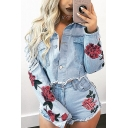 New Stylish Floral Pattern Long Sleeve Single Breasted Denim Jacket