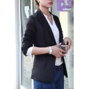 Chic Simple Plain Notch Lapel Long Sleeve Slim Blazer