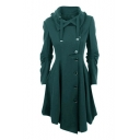 Stylish Asymmetric Hem Long Sleeves Turn-down Collar Notched Placket Button-Down Flared Midi Coat
