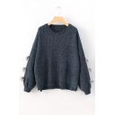 Simple Plain Puff Balls Embellished Long Sleeve Pullover Sweater