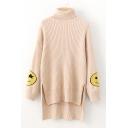 Chic Happy Face Print Turtleneck Long Sleeve High Low Hem Tunic Sweater