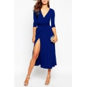 Trendy Plunge Neck 3/4 Sleeves Tied-Waist Bow-Back Split Hem Midi Wrap Dress