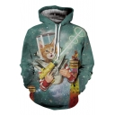 Stylish Laser Gun Cat Hamburger Galaxy Pattern Long Sleeves Pullover Hoodie with Pockets