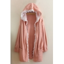 Chic Ruffle Lace Hem Hooded Long Sleeve Cardigan with Pockets