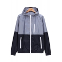 Simple Plain Color Block Panel Hooded Zippered Long Sleeve Windproof Coat