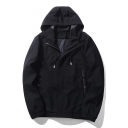 New Stylish Drawstring Hood Long Sleeve Simple Plain Unisex Coat