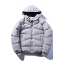 New Stylish Plain Long Sleeve Zipper Unisex Hooded Padded Coat