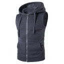 New Arrival Simple Plain Zippeded Sleeveless Hooded Vest