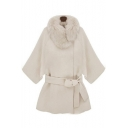 New Stylish Faux Fur Collar Plain Bow Tie Waist Tunic Coat