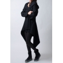 New Stylish Asymmetric Hem Simple Plain Long Sleeve Tunic Hooded Coat