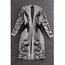 Fashion Character Print Open Front Long Sleeve Tunic Cardigan