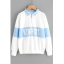 New Fashion Color Block Striped Letter Print Long Sleeve Pullover Sweatshirt