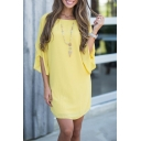 New Stylish Round Neck Ruffle Cuff Simple Plain Dress