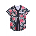 New Stylish Floral Print Button Down Short Sleeve Shirt