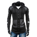 New Fashion Simple Panel Zip Up Letter Print Side Long Sleeve Hoodie