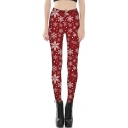New Stylish 3D Snowflake Print Elastic Waist Leggings