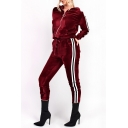 New Stylish Striped Side Zipper Hooded Top Leisure Co-ords