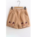 New Fashion Lovely Cat Embroidered Zip Fly Turn Up Shorts