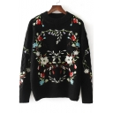 New Stylish Floral Print Round Neck Long Sleeve Pullover Sweater