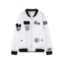 New Fashion Cartoon Mouse Embroidered Stand-Up Collar Long Sleeve Baseball Coat