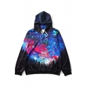 New Fashion Galaxy Zip Placket Long Sleeve Drawstring Hooded Coat
