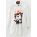 Lovely Cartoon Dog Print Lapel Long Sleeve Buttons Down Shirt