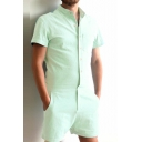 New Stylish Single Breasted Short Sleeve Simple Plain Rompers