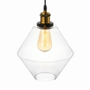 Industrial Pendant Light with 12.6''W Diamond Shape Shade, Clear