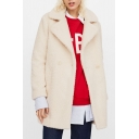 Chic Simple Plain Notch Lapel Long Sleeve Faux Fur Coat